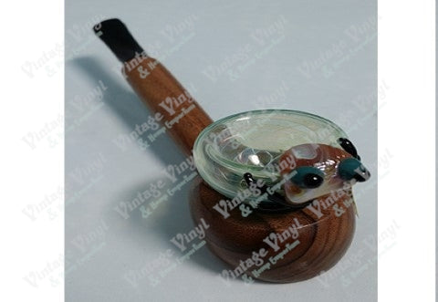 Wood Pipe With Clear Blue Glass Top with Glass Spider