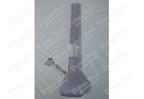 "24"" Tall Frosted Purple Straight Tube With Clear Tree Perculator w/ Splash Guard and Ice Catcher and Glass on Glass Bowl"
