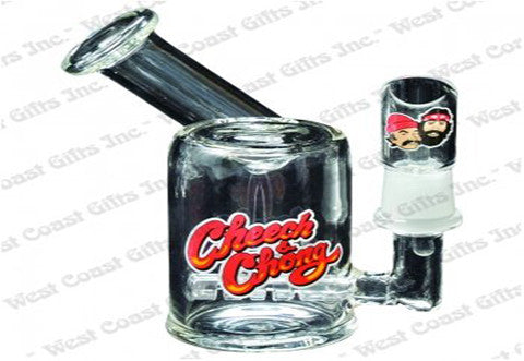 "Cheech & Chong Glass 4"" Tall Cheborneck Mini Concentrate Bubbler w/Inline Perc & 14mm Joint"