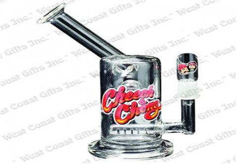 "Cheech & Chong Glass 7"" Tall Love Machine Concentrate Bubbler w/Inline Perc & 14mm Joint"