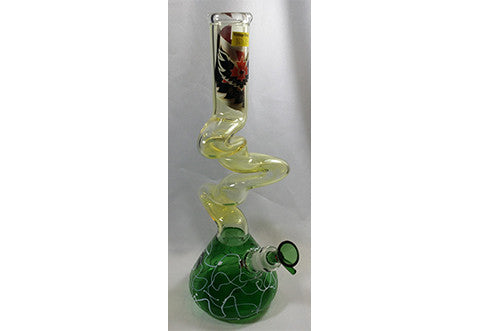 "Red Eye Glass 13"" Skinny Triple Swirled Zong w/G-on-G Pull Out"