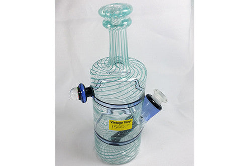 Nish Transparent With Blue Swirl Bottle JT Glass Colab Rig