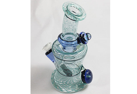 Nish Transparent With Blue Swirl and Markings JT Glass Colab Bottle Rig