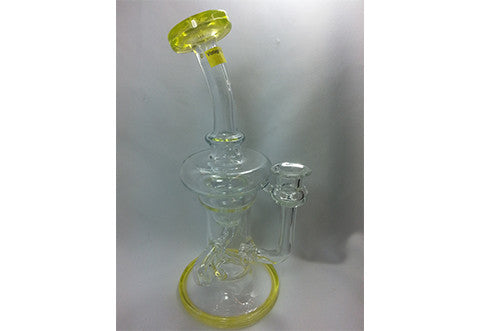 Clear Yellow UV-Active Phatt Ass Glass Dabber Rig