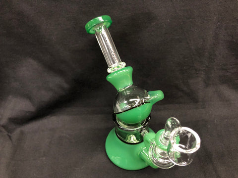 "Red Eye Glass 7"" Macrophonic Concentrate Recycler w/ 2 Hole Injector Perc and Quartz Banger"