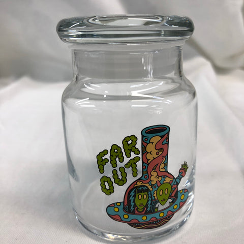 Far Out Spaceship Glass Jar