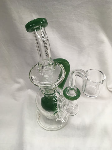 "Red Eye Glass 7"" Tall Meridian Concentrate Recycler w/UFO Perc & Quartz Banger"