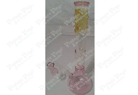 "17"" Tall Pink Clear Fumed Top Tube w/ Single Tree Percolator, Ice Catcher and Glass on Glass Bowl"