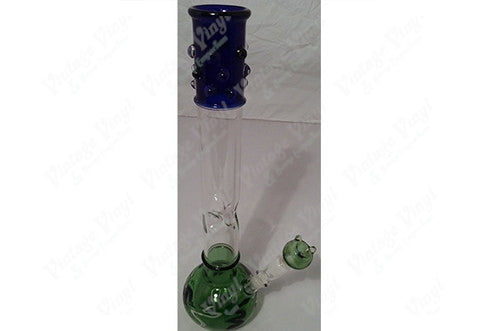 "19.5"" Tall Blue Top Green Bottom Straight Tube w/ Ice Catcher And Glass on Glass Bowl"