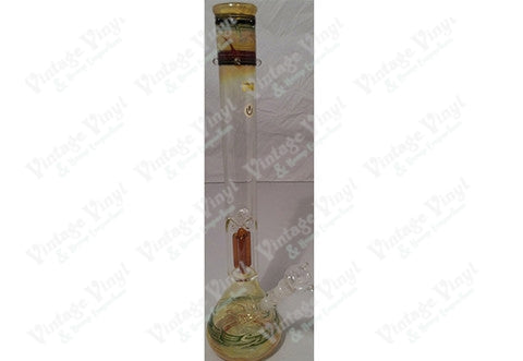 "21"" Tall Rasta Fumed Tube w/ Amber Single Tree Percolator and Glass on Glass Bowl"