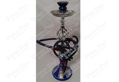 Blue And White Striped Double Hose Beaker Hookah With Spiral Base