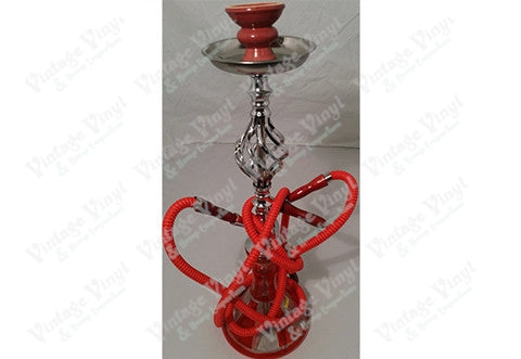 Red And White Striped Double Hose Beaker Hookah With Spiral Base