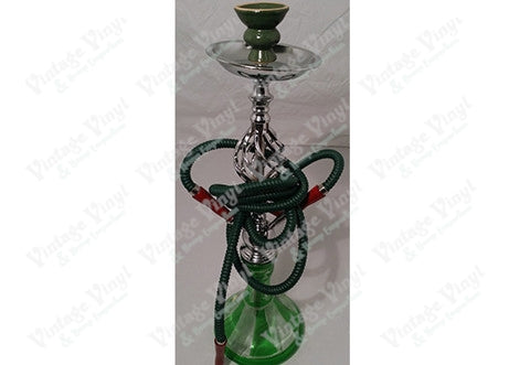 Green And White Striped Double Hose Beaker Hookah With Spiral Base