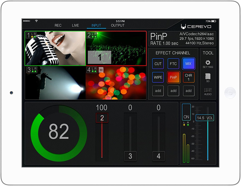 Cerevo LiveWedge iPad Switcher, Mixer, Recorder met Livestream