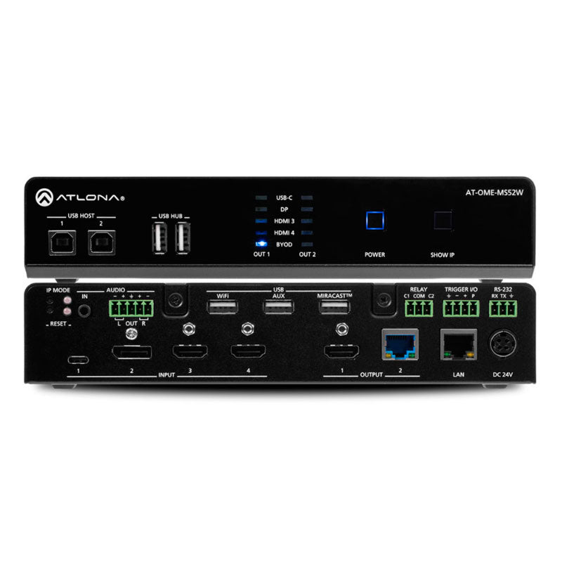 Atlona AT-OME-MS52W-EU Omega 5 x 2 4K multi-format switch HDMI, USB-C en DisplayPort