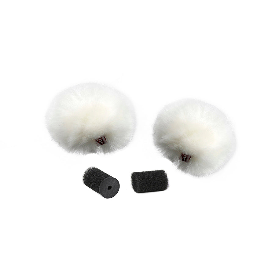 Rycote White Ristretto Lavalier Windjammer - pair