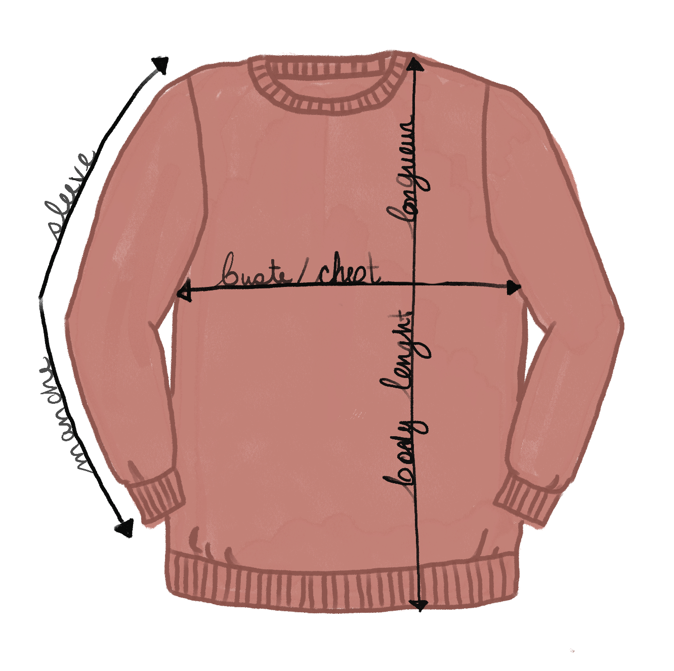 Sweatshirt size chart mimi & august
