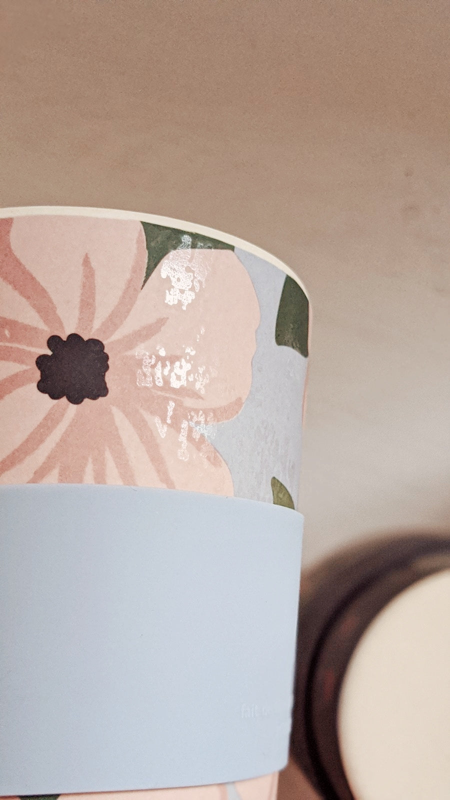 Peonies reusable coffee cup defect by mimi & august