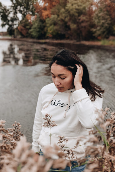 women wearing the Ahoy captain hoodie soft comfy by mimi & august