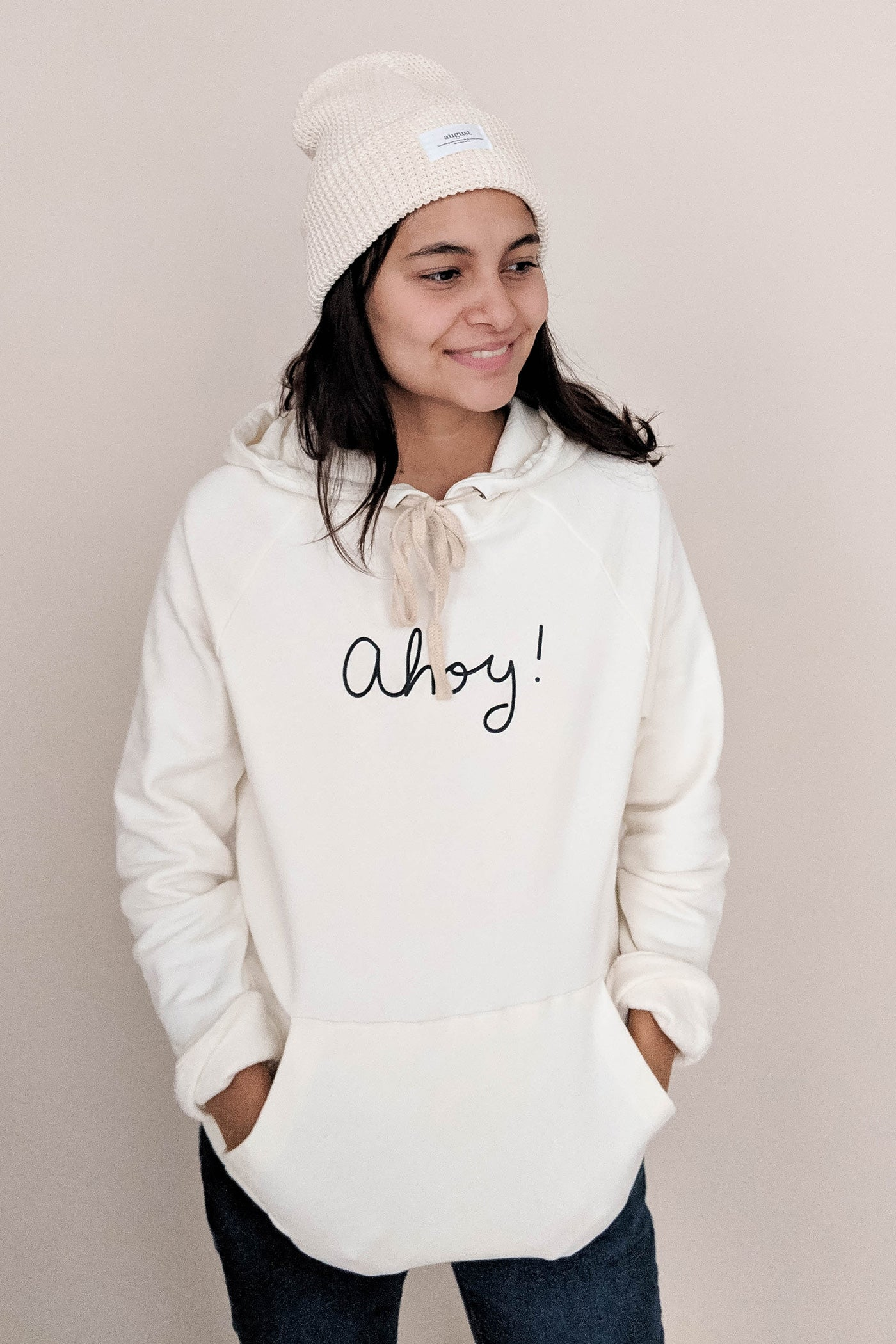 women wearing the Ahoy captain hoodie  size S by mimi & august