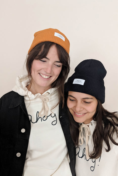 friends wearing the ahoy captain hoodie by mimi & august
