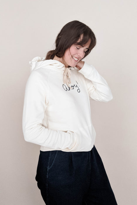 women wearing the Ahoy captain hoodie  size L by mimi & august