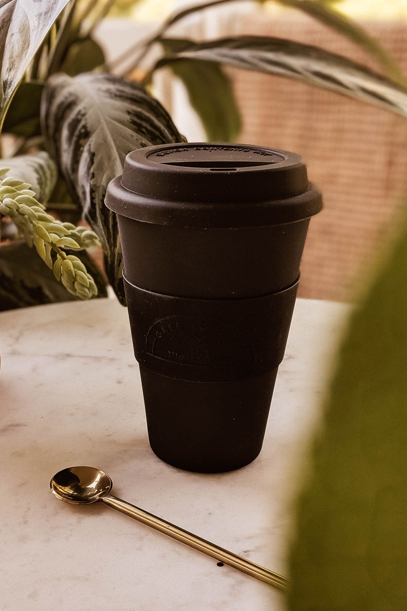 Black Matte Reusable Bamboo Café Yo Cup mimi & august