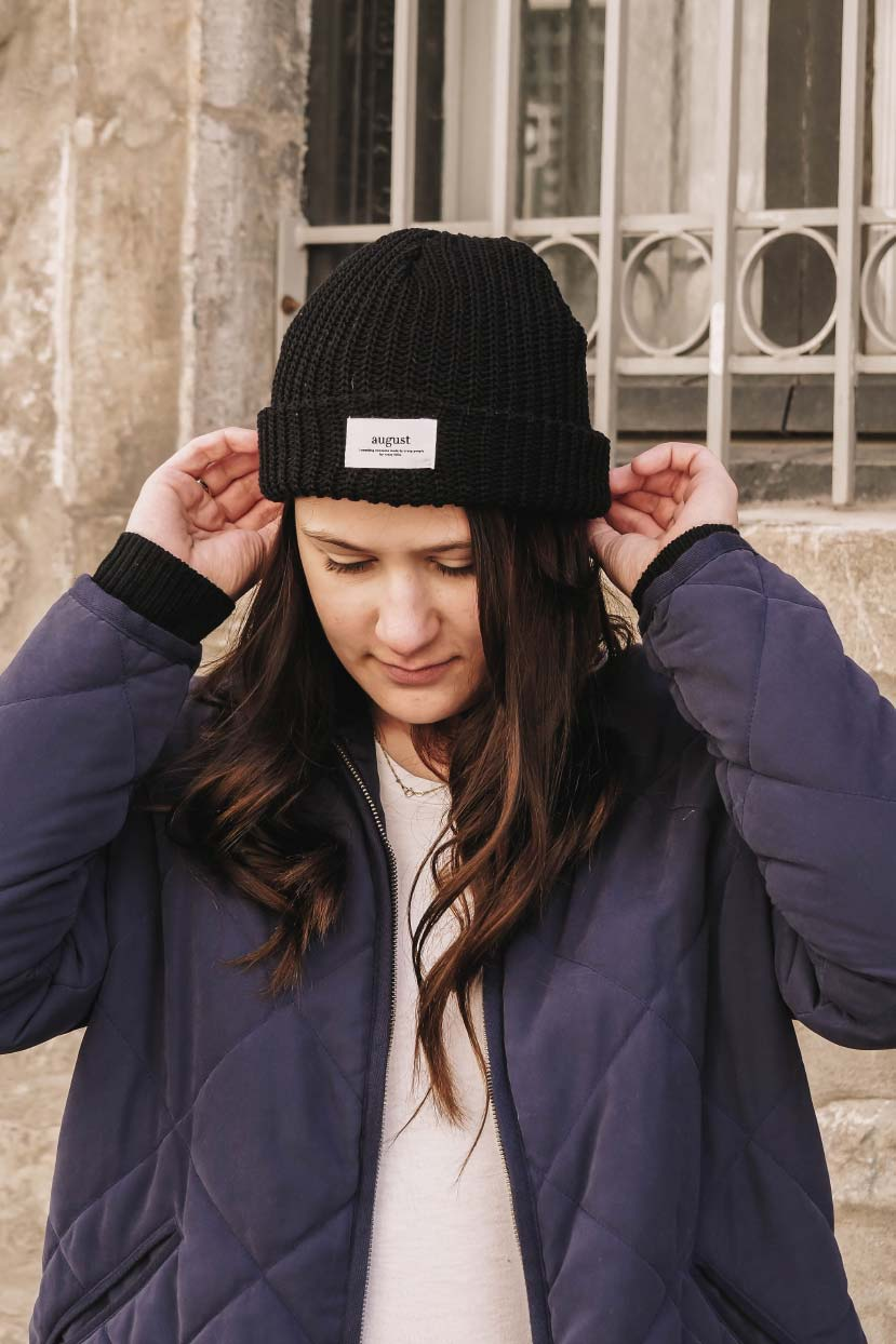comfy black waffle recycled beanie for men and women by mimi & august
