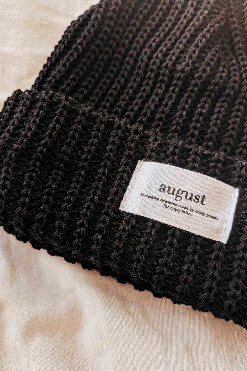 closer look at the black waffle organic cotton watch cap beanie