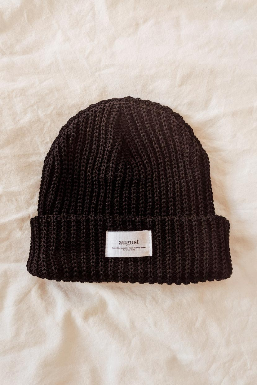 Black Waffle Organic Cotton Watch Cap Beanie Weather at Mimi & August