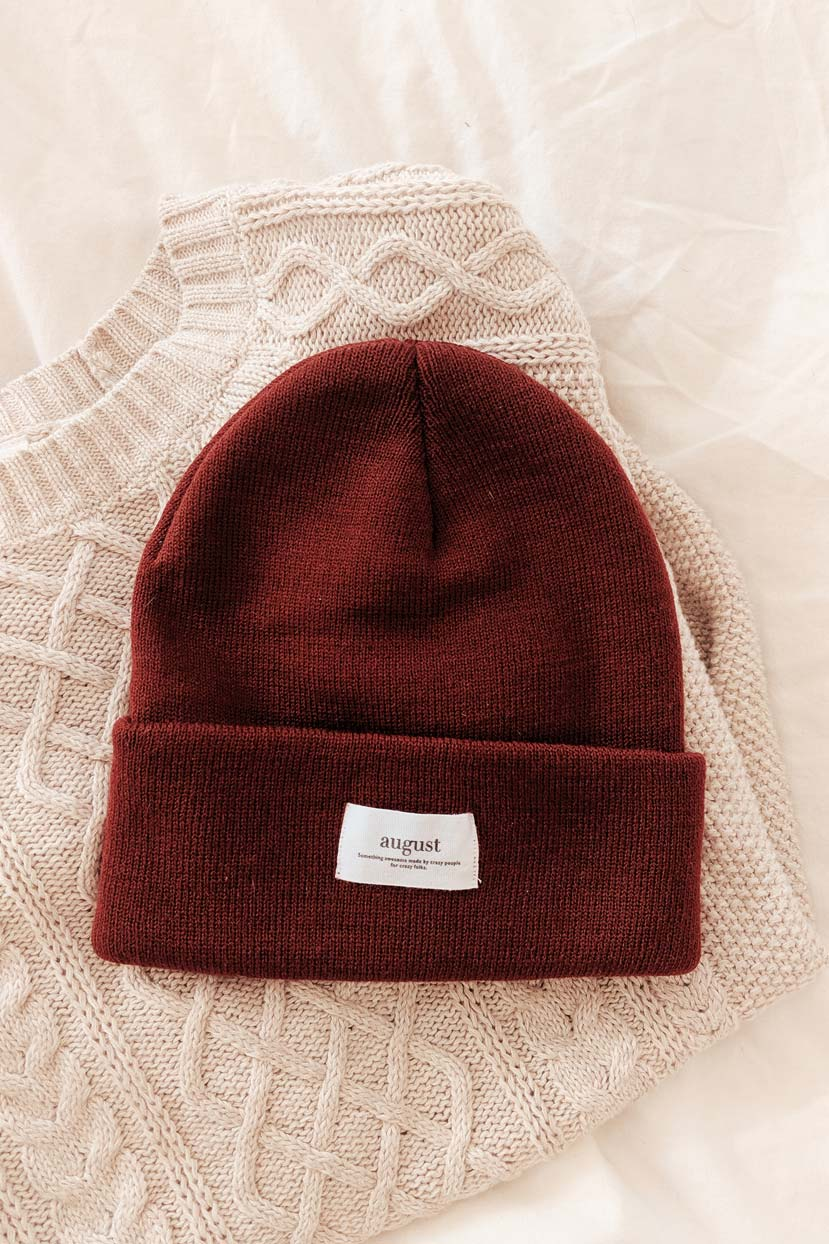 Burgundy Watch Cap Unisex Beanie Hat Cold Weather Mimi & August