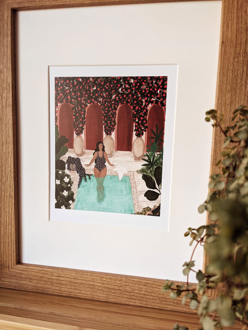Beautiful By the pool illustration framed by mimi and august