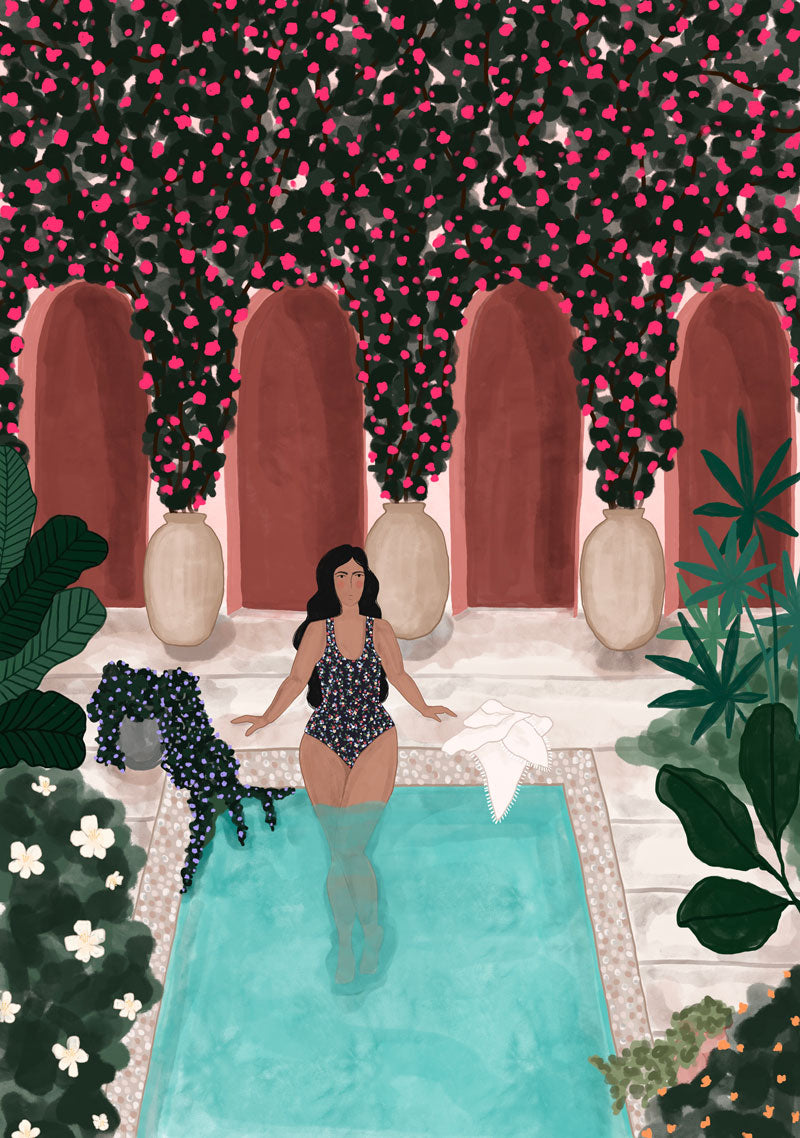 By the pool - High quality wall art print canada by Mimi and August