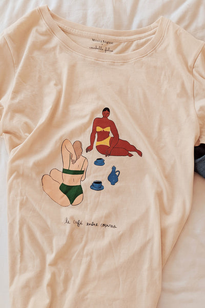 Cafe entre copines Tee Ethical T-shirt by Isabelle Feliu x Mimi & August