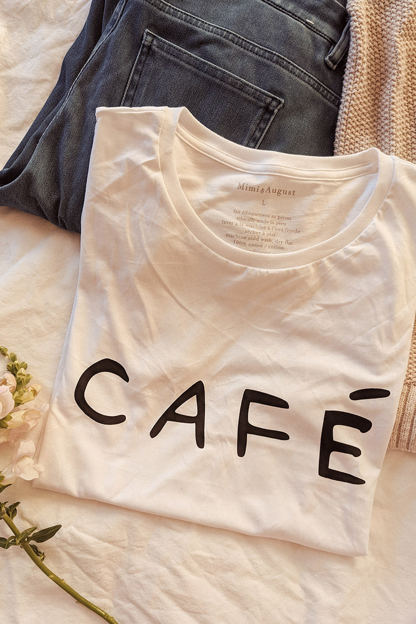 I love coffee café addict t-shirt by Mimi & August