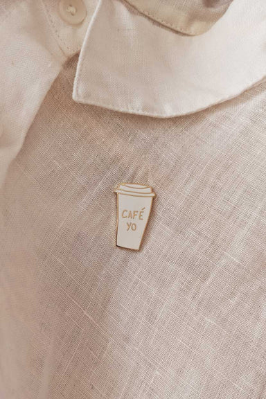 beautiful enamel pin for coffee lovers by mimi & august