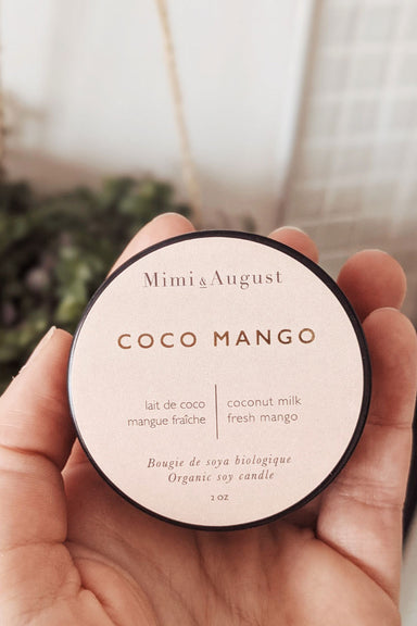 Coco mango 2oz handmade candle by mimi and august