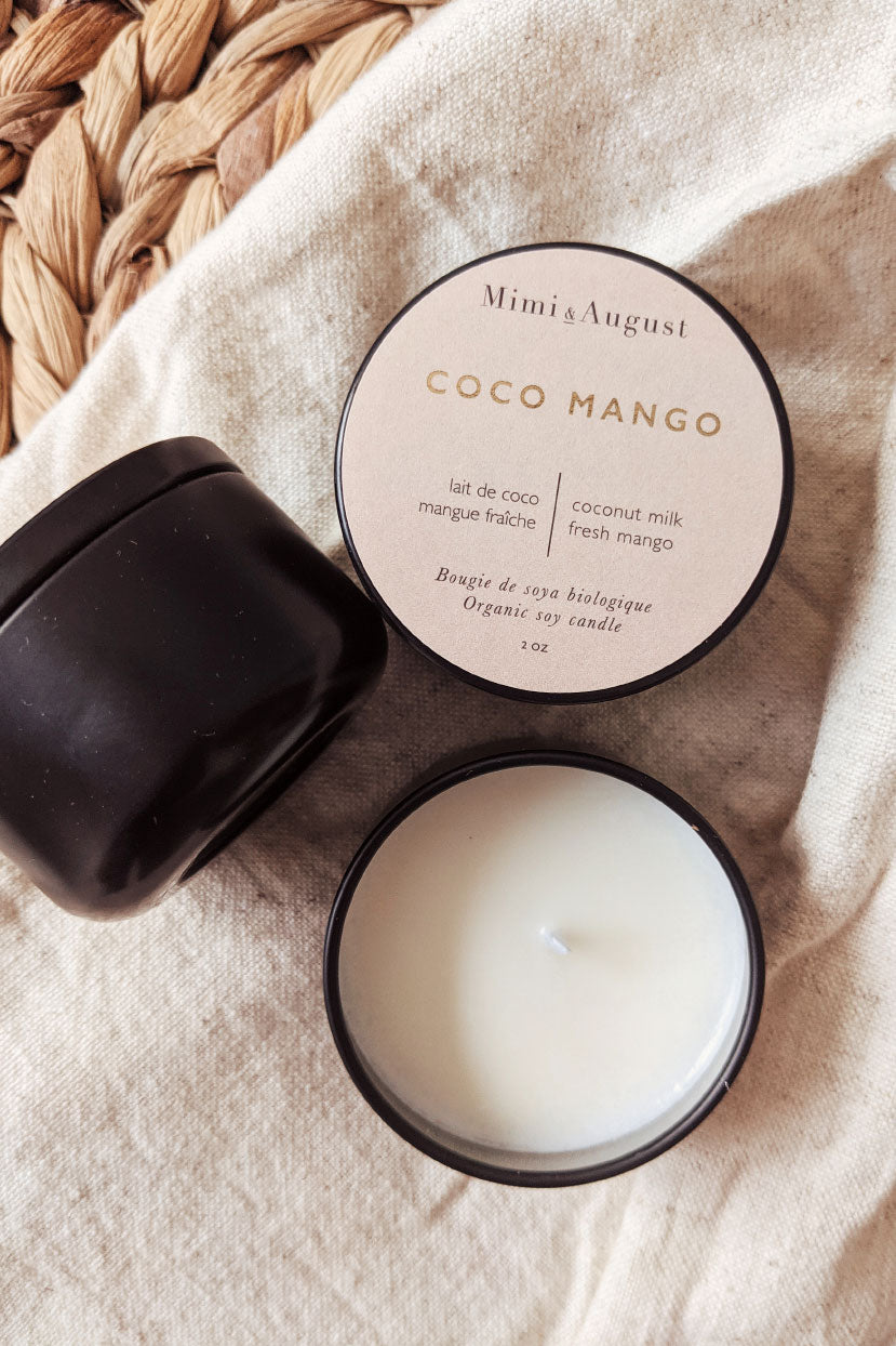 Coco Mango - scented soy wax mini candle 2oz made in canada Mimi & August