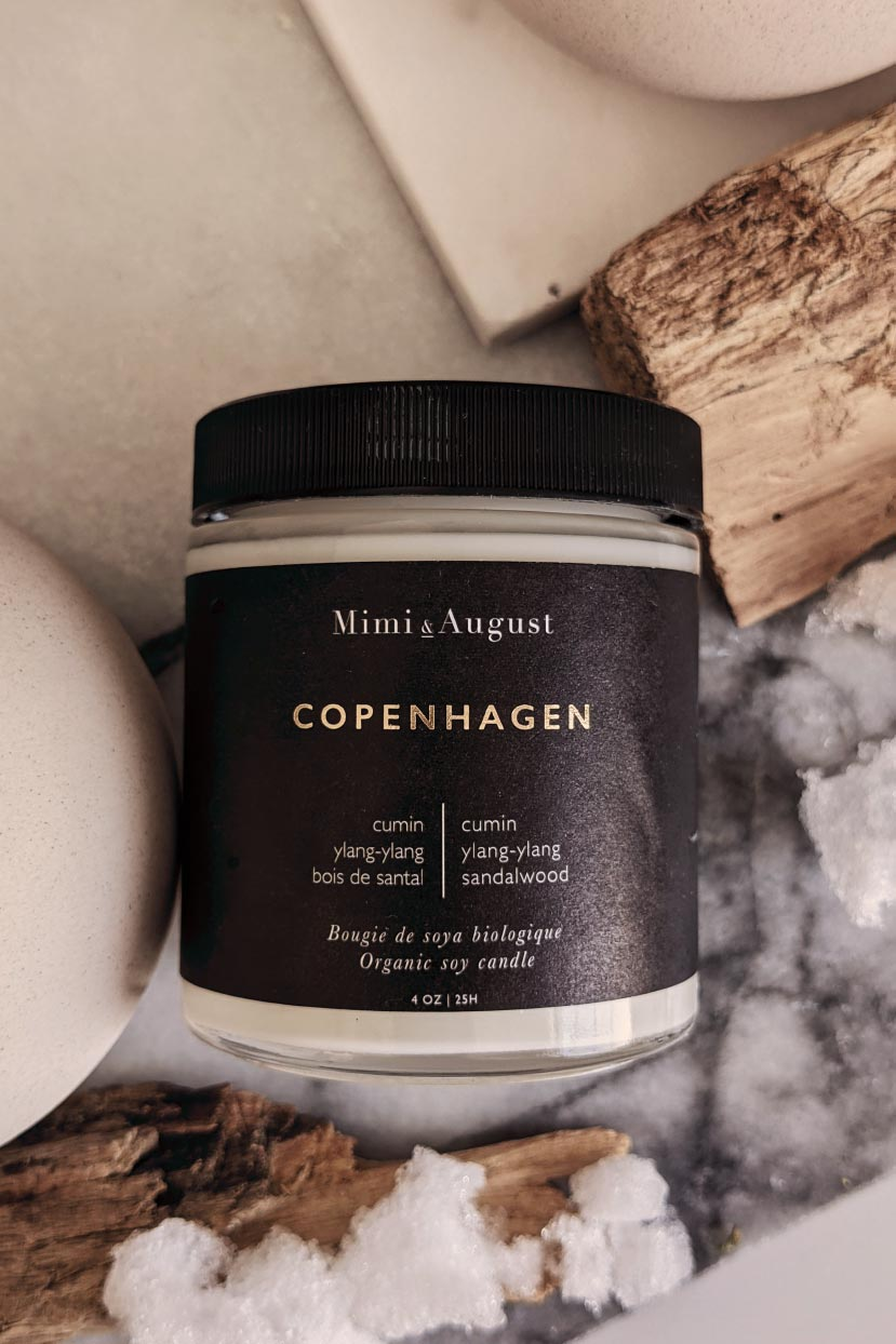 Copenhagen scented soy wax candle handmade in Canada Mimi & August