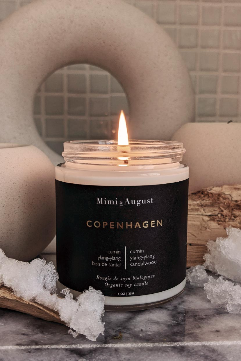 Beautiful scented soy wax burning candle Copenhagen by mimi and august