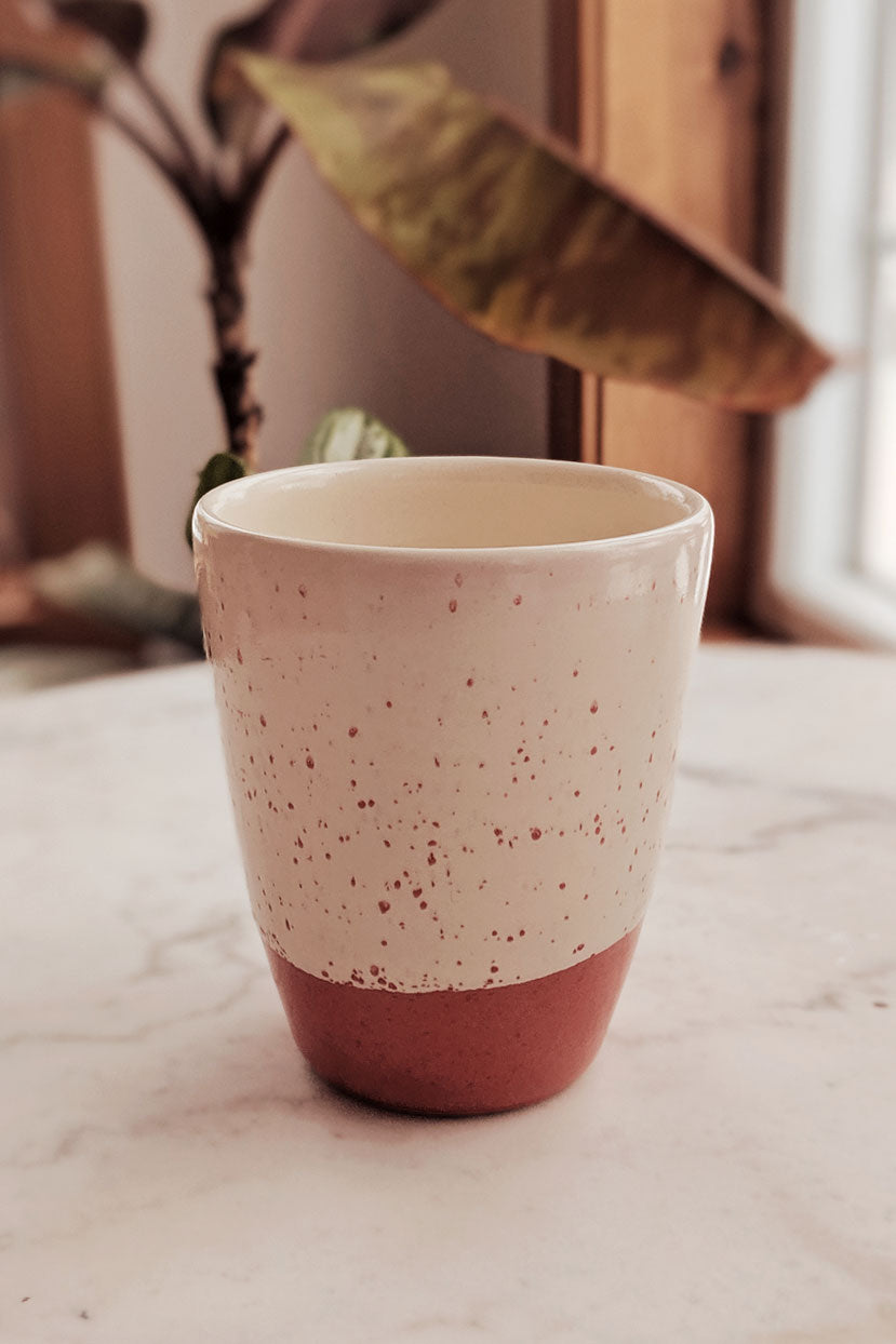 Unique Coral White Drip Mug Pottery Coffee Cup Mimi and August