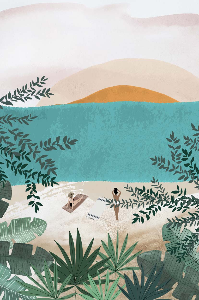 Tropical Beach island illustration by mimi & august