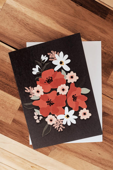 Fleurs Rouges Flowers Beautiful Greeting Card by Mimi & August