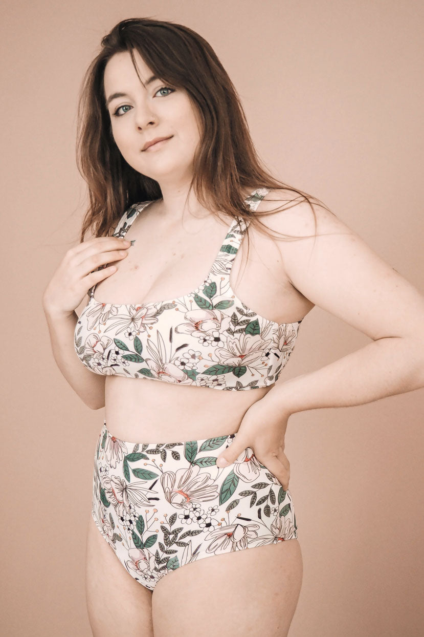 floral bathing suit ethically made in canada by mimi & august