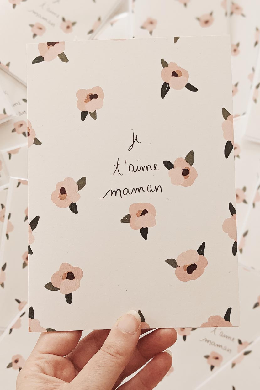 Je t'aime Maman | Beautiful Mother's Day Greeting Card by Mimi & August