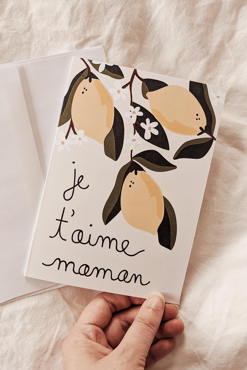 Je t'aime Maman | Beautiful Greeting Card by Mimi & august