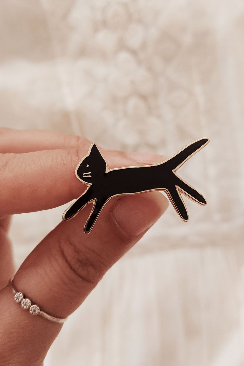 Kitty black enamel pin by Mimi & August