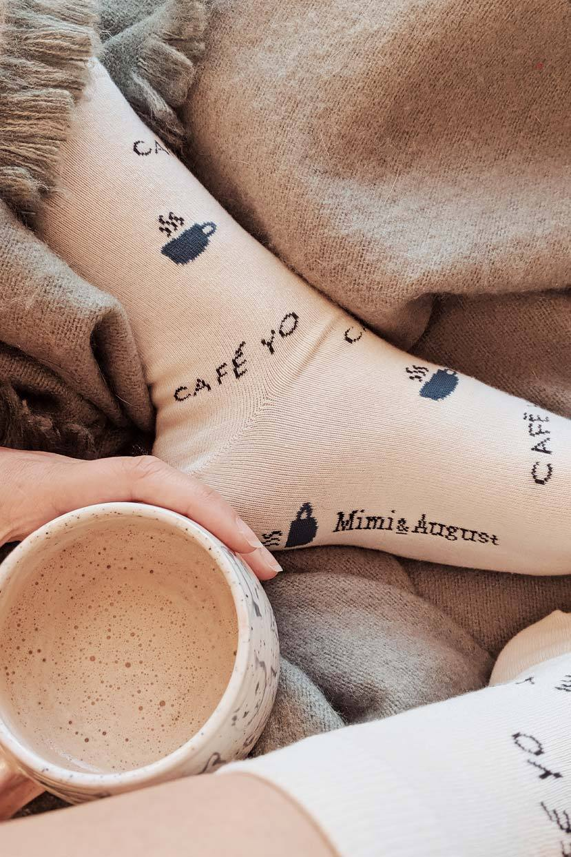 Closer look at the Cafe Yo Comfy Socks caffeinated by Mimi & August