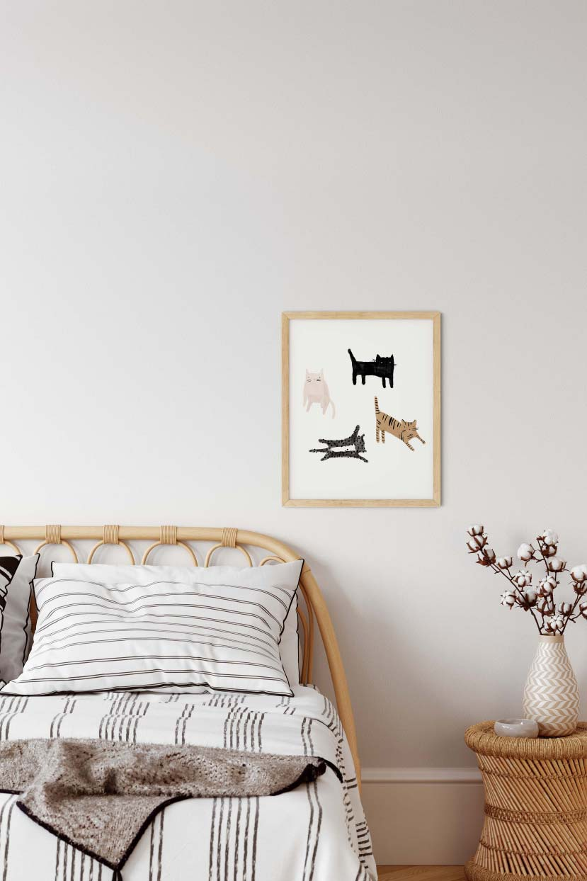 Cat lover wall art print home decor by mimi & august