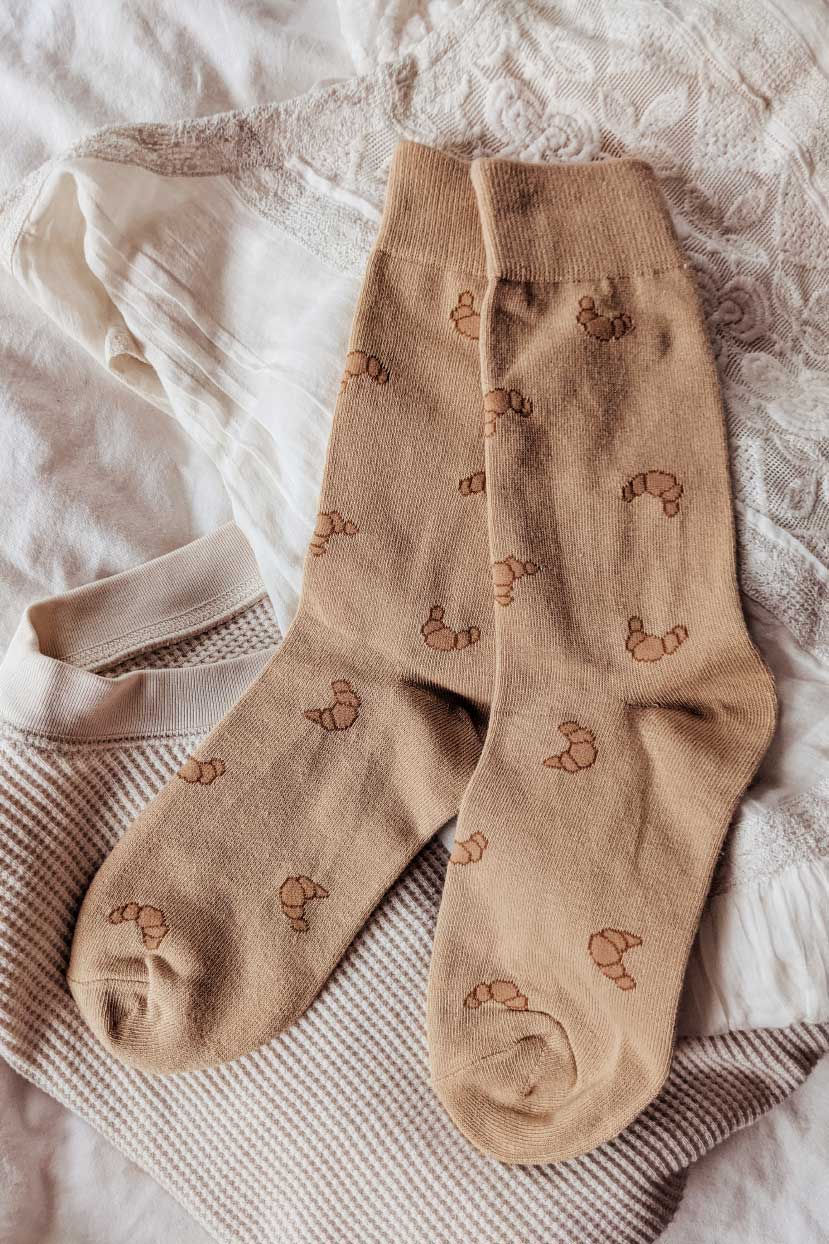 The perfect viennoiserie croissant sock comfy and warm by mimi & august